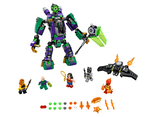 Take down the Lex Luthor™ Mech, featuring minifigure cockpit/escape pod and rapid shooter, with Batman's Bat-Glider, plus 5 minifigures, buildable green Energy Infuser and Power Burst elements.