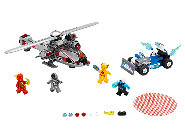 Match The Flash™ vs. Reverse Flash™ in a Speed Force Freeze Pursuit, featuring the CyborgCopter, Killer Frost's Ice Car, 4 minifigures, buildable blue Energy Infuser and Power Burst elements.