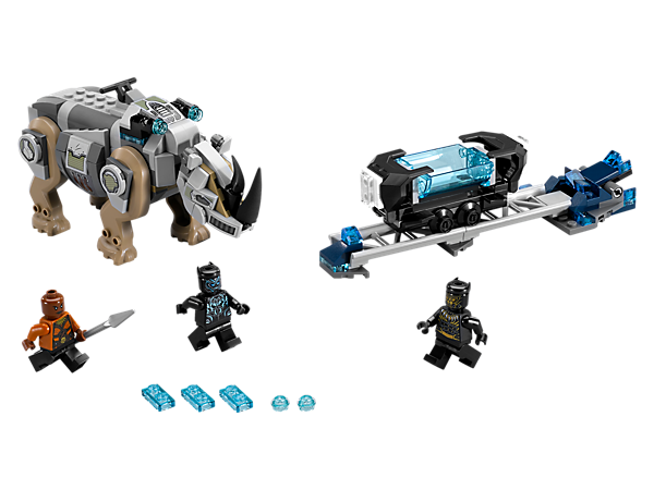 Match Black Panther vs. Killmonger with this Rhino Face-Off by the Mine set, featuring a posable rhino figure with stud shooters, mining cart, rail track with explode function and 3 minifigures.