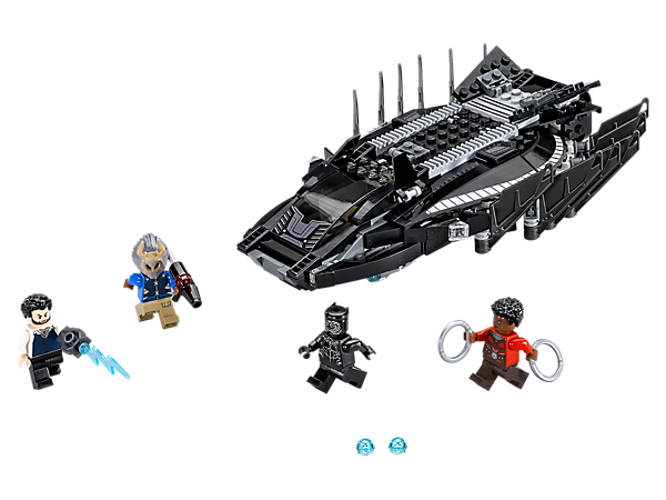 Fly to help Black Panther defeat Killmonger in the Royal Talon Fighter with 2 stud shooters and a prison compartment, plus 4 minifigures with weapons.