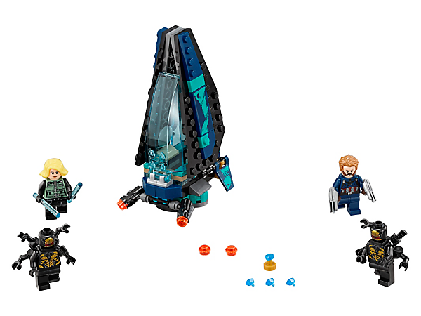 Help Captain America and Black Widow battle the Outriders with this Outrider Dropship Attack set, featuring a dropship with stud shooters, Infinity Stone element and 4 minifigures.