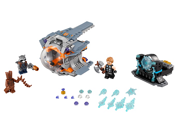 Join Thor's Weapon Quest with Thor, Rocket and Groot and travel in the Escape Pod to find the ultimate weapon and the Infinity Stone. Includes 3 minifigures.