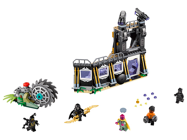 Defend the Wakandan wall, with dual stud-shooting turrets, disc shooter and Wakandan lab with flip function, from the Thresher in this Corvus Glaive Thresher Attack set with 5 minifigures.