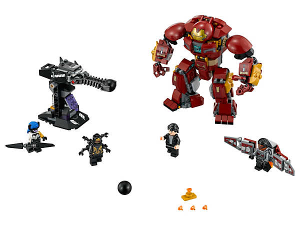 Bash the gun turret with the Hulkbuster and reclaim the Infinity Stone from Proxima Midnight in this The Hulkbuster Smash-Up set with 4 minifigures and Falcon's buildable wings.
