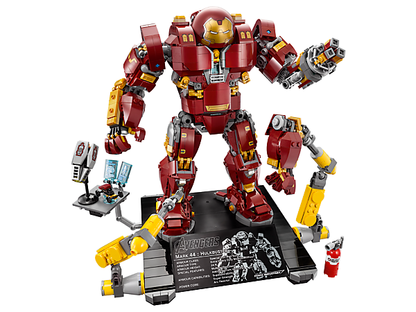 Build The Hulkbuster: Ultron Edition, with a punching jackhammer arm and LEGO® light brick in the chest, and display it on the platform with attachable robotic construction arms. Includes a minifigure.