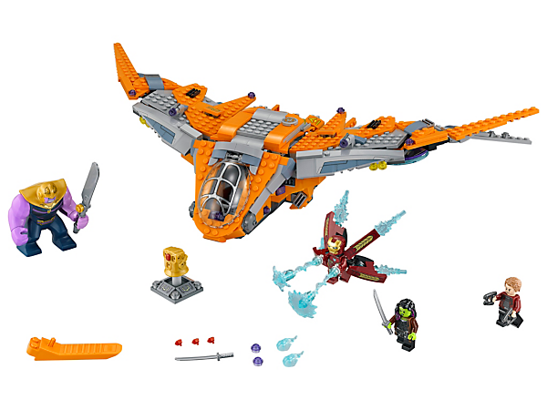 Team up with Iron Man, Star-Lord and Gamora vs. Thanos to claim the Infinity Gauntlet in this Thanos: Ultimate Battle set, with The Guardians' Ship, space scooter, 3 minifigures and a big figure.