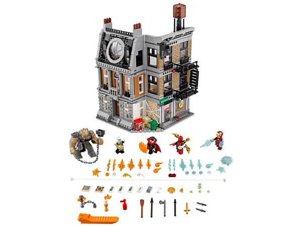 Help Iron Spider-Man protect the Sanctum Sanctorum, with trapdoor, exploding wall and minifigure-launch/winch functions, with this Sanctum Sanctorum Showdown set, including 4 minifigures and a big figure.