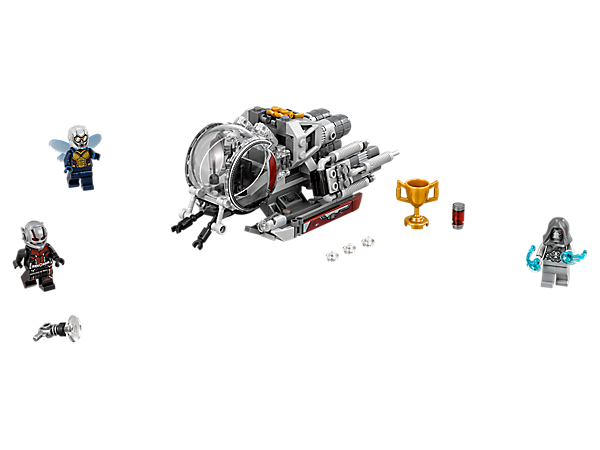 Fly into attack vs. Ghost with The Wasp and Ant-Man's Quantum Vehicle, featuring stud shooters, adjustable engines and insect arms, with this Quantum Realm Explorers set including 3 minifigures.