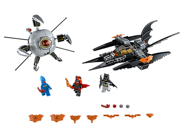 Fly Batman™ and Batwoman's Batjet into battle against Brother Eye™ with light brick and stud shooter, in Batman: Brother Eye Takedown. Includes 3 minifigures and 11 Bat weapons and elements.