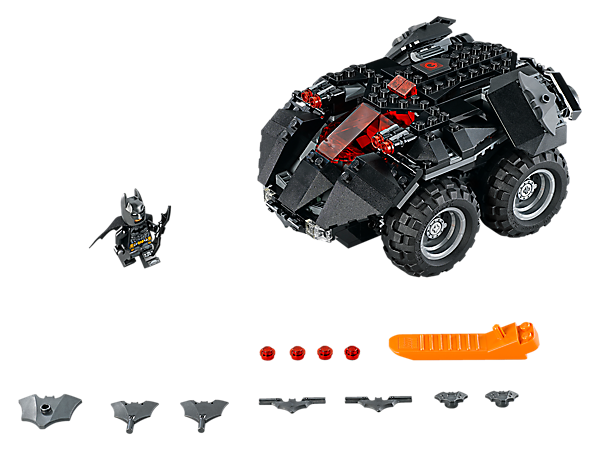 Hit top speed with the App-Controlled Batmobile, featuring a battery hub powering 2 motors, an opening minifigure cockpit and 2 dual stud shooters, plus a Batman™ minifigure.