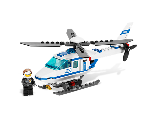 Patrol and protect LEGO® City from the sky in this Police Helicopter with rotors that really spin, includes pilot minifigure!
