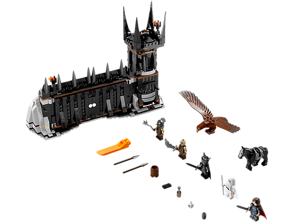 Take on the forces of Sauron in a Battle at the Black Gate, with opening/locking doors, secret entrance, 5 minifigures and a Great Eagle!