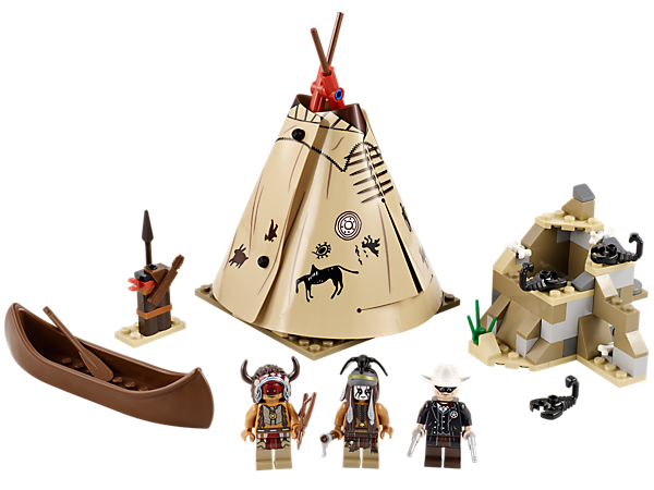 Take the Lone Ranger and Tonto to the Comanche Camp to visit Red Knee in his teepee with removable canopy, weapon rack, canoe and scorpions!