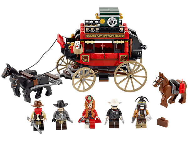 Help the Lone Ranger in a Stagecoach Escape with detachable horses, opening doors and roof, baggage launcher and Red Harrington's silver!