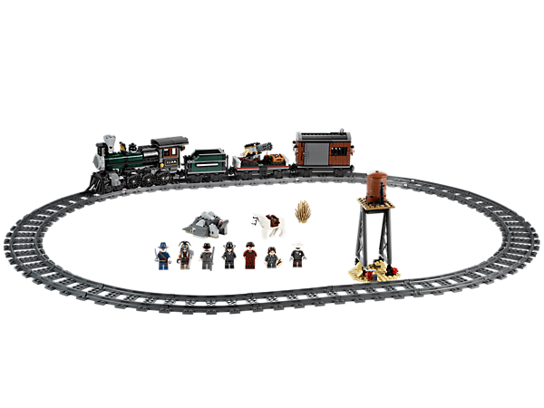 Ride to the rescue with the Lone Ranger and the Constitution train locomotive with 3 wagons, tracks, a gatling gun and a water tower!