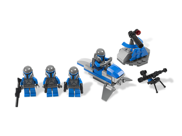 Take the battle to the Clone Army with the Mandalorian assassin and 3 Mandalorian trooper minifigures, each with their own unique weapon!
