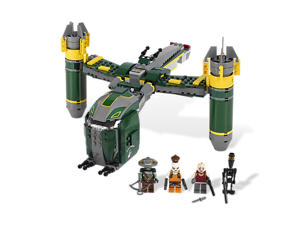 Store the stolen holocron in the secret chamber of the Bounty Hunter™ Assault, which also features twin rotating engines and all-new minifigures!