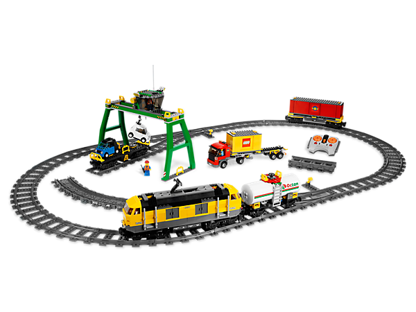 Use the big crane — with working winch — to load the Cargo Train, then transport the goods with 4-channel, 7-speed infrared remote control!