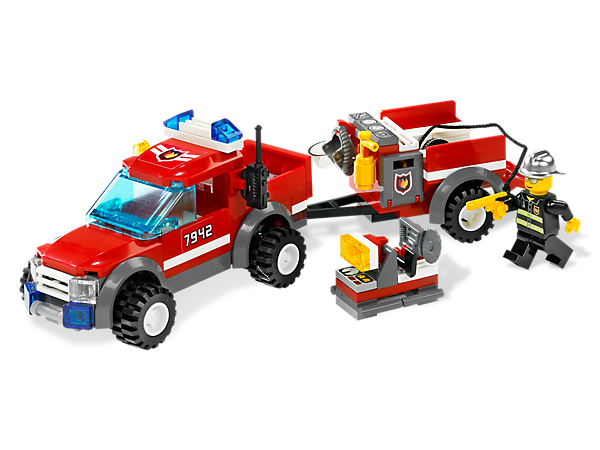 Speed to the scene and save the day in the Off-Road Fire Rescue truck, includes fire chief minifigure, trailer and firefighting equipment!