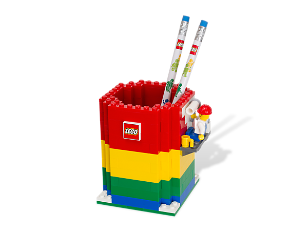 Keep your desk clean and organized with a colorful Pencil Holder built of LEGO® bricks, includes 2 pencils and a minifigure!