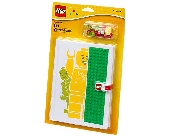 Write, draw and build with the Notebook with Studs, featuring a 6 x 24-stud baseplate cover for holding letter and number elements!