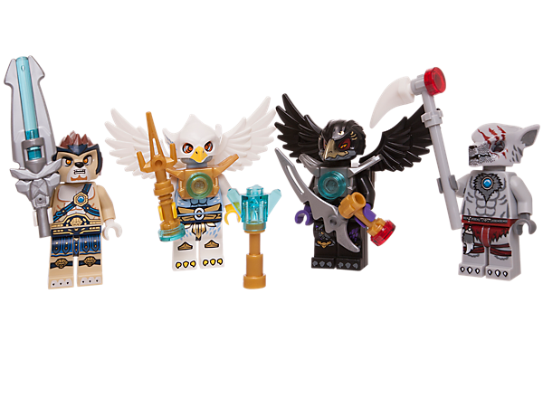 Power-up your battles with the LEGO® Legends of Chima™ Battle Pack, including 4 minifigures with weapons!