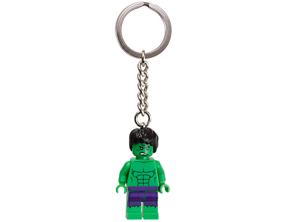 Beef up your backpack or fridge with an authentic LEGO® Marvel Super Heroes The Hulk™  minifigure attached to a sturdy metal ring and chain!