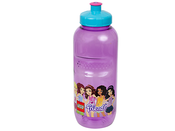 Drink among friends with the durable, translucent-purple, 500ml-capacity LEGO® Friends Drinking Bottle with push-pull mouthpiece.