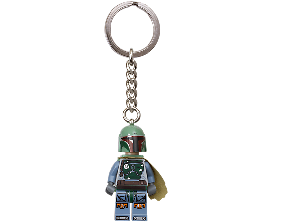 Guard your keys with LEGO® <i>Star Wars</i>™ Boba Fett™ keyring featuring an authentic minifigure with non-detachable metal ring and chain!
