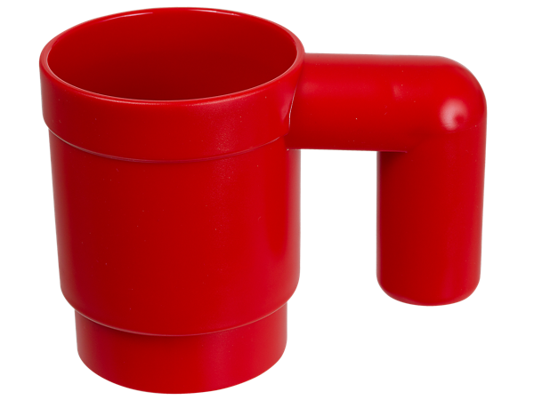 Drink from this red LEGO® Iconic mug, made of plastic, stackable and upscaled to 10 times the size of a standard LEGO mug element.