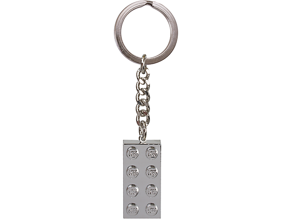 Stand out from the crowd with the LEGO® Iconic Metalized 2x4 Key Chain featuring a 2x4 metalized brick with sturdy metal ring and chain.
