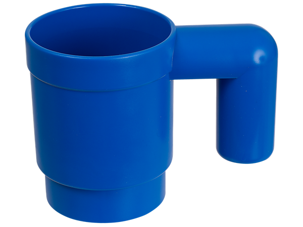 Drink from this blue LEGO® Iconic mug, made of plastic, stackable and upscaled to 10 times the size of a standard LEGO mug element.