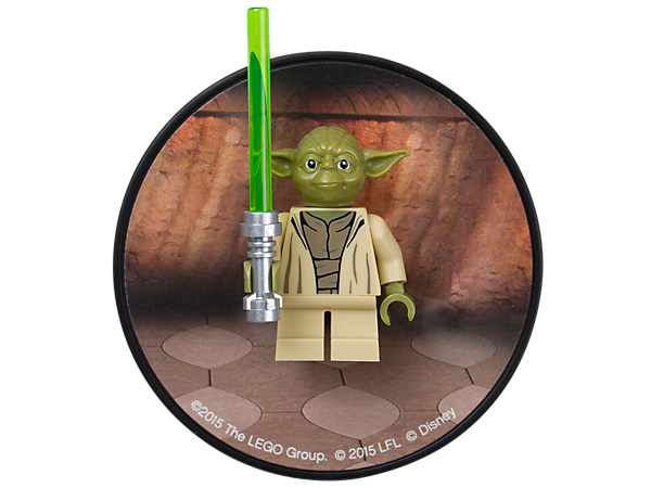 Repel evil forces with this cool Yoda minifigure with posable arms and legs mounted on a decorated magnetic backplate.