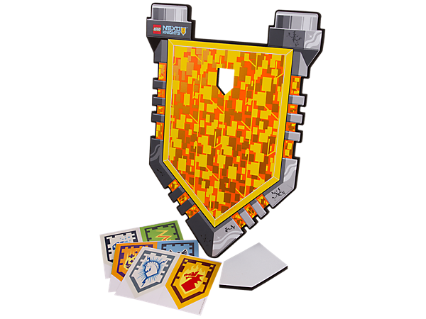 Power up on the battlefield and give your heroic knight the edge in battle with this soft-foam shield, featuring 6 scannable shield stickers.