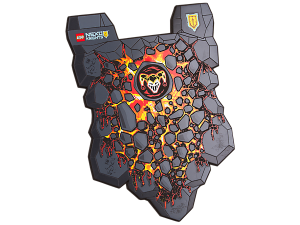 Join the raging army of the Lava monsters and take up the fight against the knights with this soft-foam LEGO® NEXO KNIGHTS™ Monster's Shield featuring volcanic decoration.