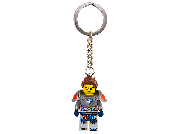 Save the day with bold Clay Moorington featuring an authentic LEGO® NEXO KNIGHTS™ minifigure in futuristic armor and decoration attached to a sturdy metal ring and chain.