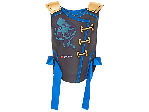 Become Ninja Jay with NINJAGO™ Armor, featuring soft-foam and brushed tricot fabric decorated in Blue Ninja style, plus an adjustable red fabric tie belt.