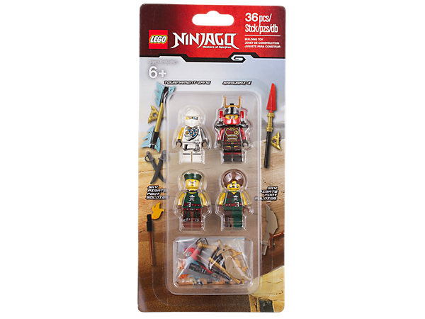 Prepare for combat with the LEGO® NINJAGO™ Accessory set, featuring Tournament Zane, Samurai X and 2 sky pirate foot soldier minifigures with 9 weapons and accessory elements.
