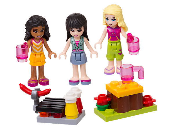 Build a little campfire and table, then cook sausages and enjoy delicious hot chocolate with Kate, Maya and Liza mini-doll figures.