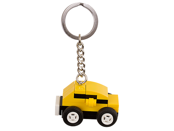 Hit the road with this cool LEGO® bag charm, featuring a cute yellow car on a sturdy metal ring and chain.