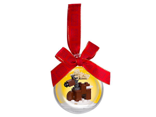 Celebrate the holidays with a buildable LEGO® Reindeer ornament to hang on your tree! Includes building instructions, a transparent plastic bauble and a red ribbon.