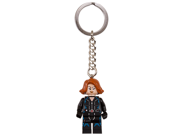 Don't leave home without this LEGO® Marvel Super Heroes keyring featuring an authentic Black Widow minifigure attached to a sturdy metal ring and chain.