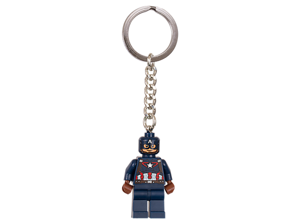 Team up with a true patriot with this LEGO® Marvel Super Heroes keyring featuring an authentic Captain America minifigure attached to a sturdy metal ring and chain.