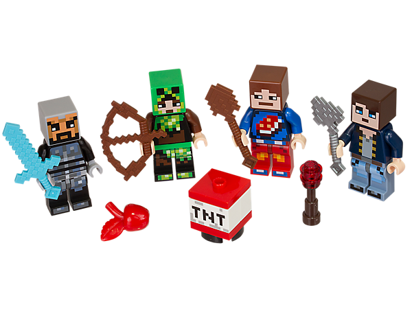 Create your own skins with this LEGO® Minecraft™ Skin Pack 1, featuring 4 minifigures, each with a unique Minecraft skin, plus tool and weapon elements.