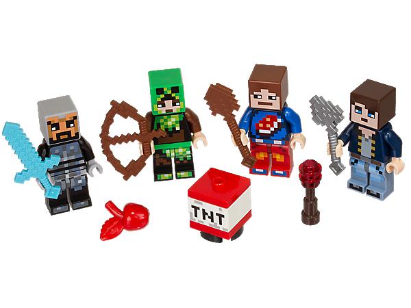 Kreiere deine eigenen Hüllen mit diesem LEGO® Minecraft™ Hüllen Set 1. Mit 4 Minifiguren mit einzigartigen Minecraft Hüllen sowie Werkzeug- und Waffenelementen.