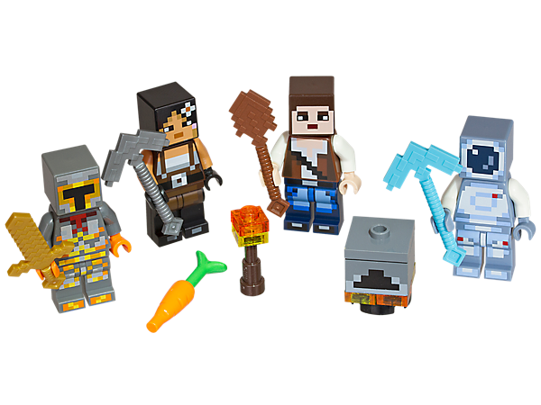Create your own skins with the LEGO® Minecraft™ Skin Pack 2, featuring 4 minifigures, each with a unique Minecraft skin, plus tool and weapon elements.