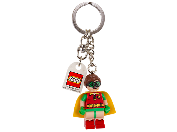 Begin an adventure with THE LEGO® BATMAN MOVIE Robin™ Key Chain, featuring a Robin minifigure attached to a sturdy metal ring and chain.