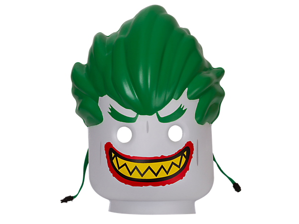 Become a Super-Villain with THE LEGO® BATMAN MOVIE minifigure head-style The Joker™ Mask in compression-molded soft foam with safety snap closure.