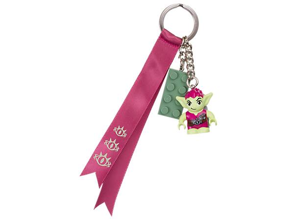 Unlock new and exciting adventures with this Roblin bag charm, featuring a Roblin minifigure with colorful ribbons and LEGO® brick tile on a sturdy metal ring and chain.