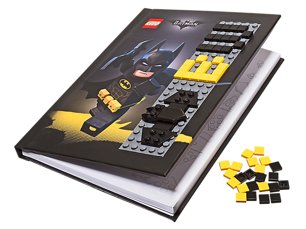 Customize THE LEGO® BATMAN MOVIE Batman™ Notebook with Stud Cover, featuring 96 lined pages, LEGO 5x22 plate on the front cover and over 55 LEGO pieces.